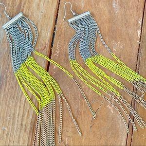 Tri Color Multi Chain Fringe Earrings